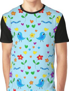 Blue cute birds and flowers pattern Graphic T-Shirt