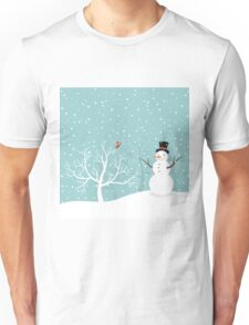 Snowman in winter Unisex T-Shirt