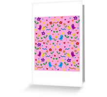 Pink cute birds and flowers pattern Greeting Card