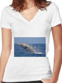 breaching- humpback whale Women's Fitted V-Neck T-Shirt