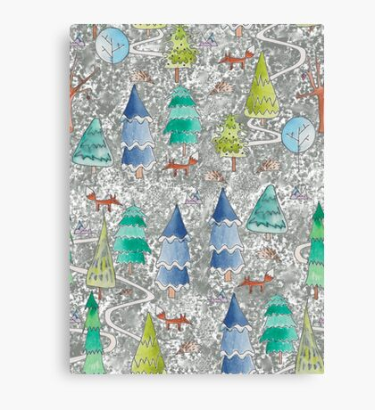 Water colour Winter forest Canvas Print
