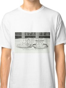 Tea is the key quote on gifts and clothing, prints and interior goods Classic T-Shirt