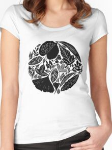 Nature fantasy world, Linocut art Women's Fitted Scoop T-Shirt