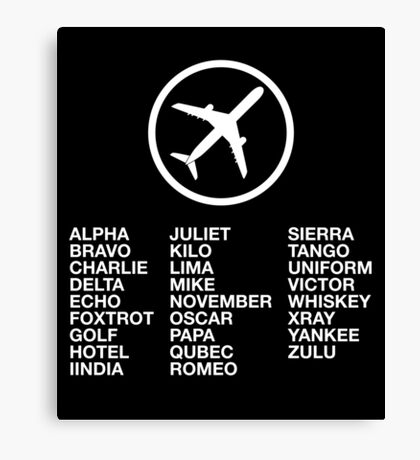 The Phonetic Alphabet with a picture of an airplane. Canvas Print
