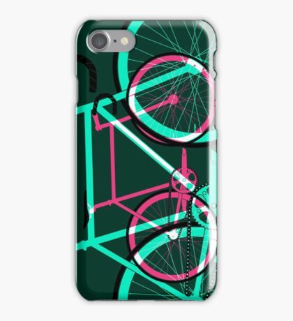 Fixed Gear Road Bikes – Green and Pink iPhone Case/Skin