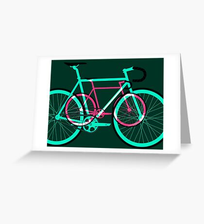 Fixed Gear Road Bikes – Green and Pink Greeting Card