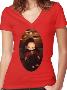 Cute Captain (Oval Version) Women's Fitted V-Neck T-Shirt