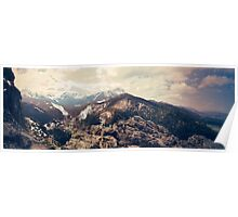 The Tatra Mountains. Panorama of polish mountains during spring. Vintage sepia colors Poster