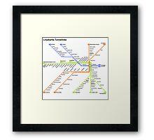 Linjakartta Tunnelirata Framed Print
