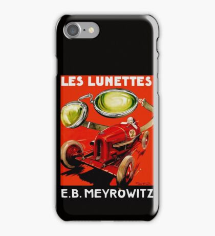 Vintage French optometrist advert, race car, goggles iPhone Case/Skin
