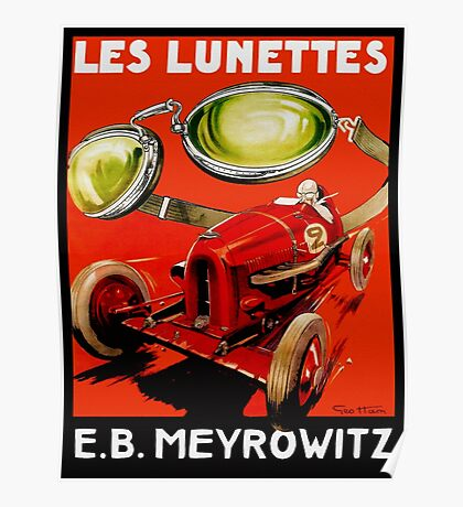 Vintage French optometrist advert, race car, goggles Poster