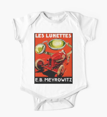 Vintage French optometrist advert, race car, goggles One Piece - Short Sleeve