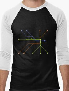 Linjakartta Tunnelirata Men's Baseball ¾ T-Shirt