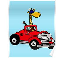 Cool Funny Giraffe Driving Red Convertible Car Poster