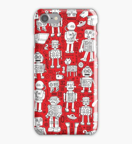 Robot Pattern - Red and White iPhone Case/Skin