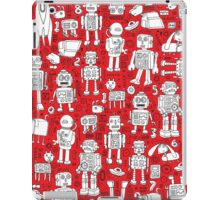 Robot Pattern - Red and White iPad Case/Skin