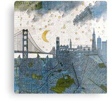San Francisco skyline old map Metal Print