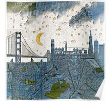 San Francisco skyline old map Poster