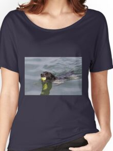 Dog swims with ball in mouth Women's Relaxed Fit T-Shirt