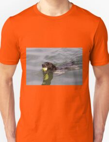 Dog swims with ball in mouth Unisex T-Shirt