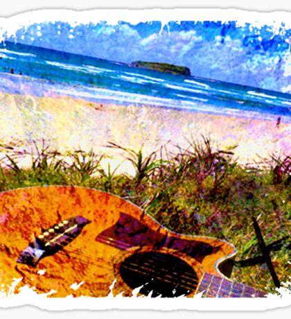 Fingal Beach Surf Guitar Sticker