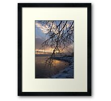 A Curtain of Frozen Branches - Ice Storm Sunrise Framed Print
