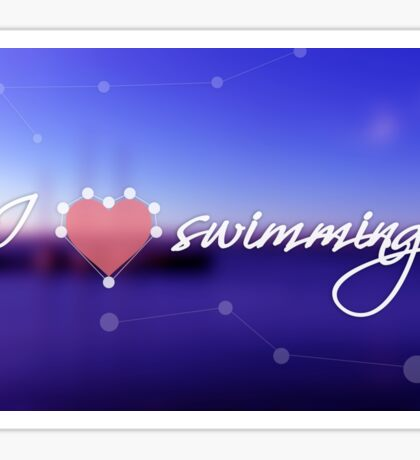 Blurred background with blue sea and boats. Concept background with dotted line, heart and the text: I love swimming Sticker