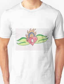 Flaming Heart Lock by Ruby T-Shirt
