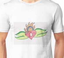 Flaming Heart Lock by Ruby Unisex T-Shirt