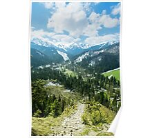 The Tatra Mountains in Poland. Mountains landscape with green forest and snowy peaks. Summer time Poster