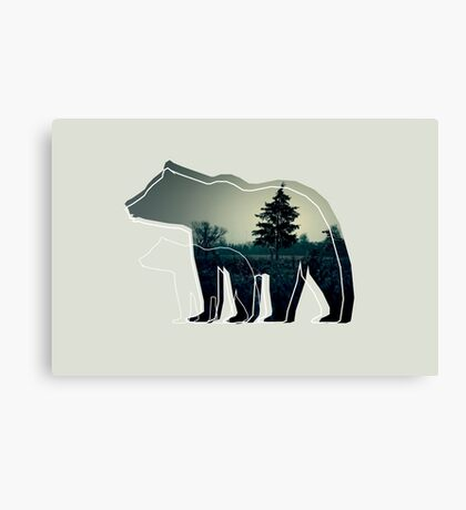 Creative photo with double exposure and line icon of the bear. Dark forest in the middle Canvas Print