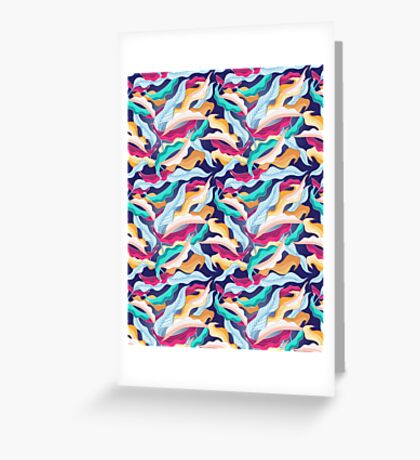 colorful pattern with leaves  Greeting Card