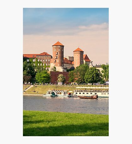 The Castle Wawel from the Vistula river. Fortified architectural complex. Vintage photo. Krakow, Poland Photographic Print