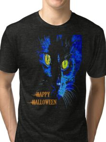Black Cat Portrait with Happy Halloween Greeting Tri-blend T-Shirt