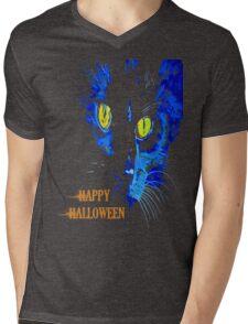 Black Cat Portrait with Happy Halloween Greeting Mens V-Neck T-Shirt