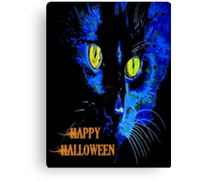 Black Cat Portrait with Happy Halloween Greeting Canvas Print