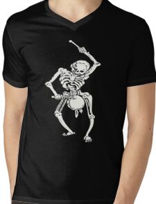 Zombie Undead Skeleton Marching and Beating A Drum Mens V-Neck T-Shirt