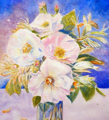 Watercolor Vase of Wild Roses Sticker