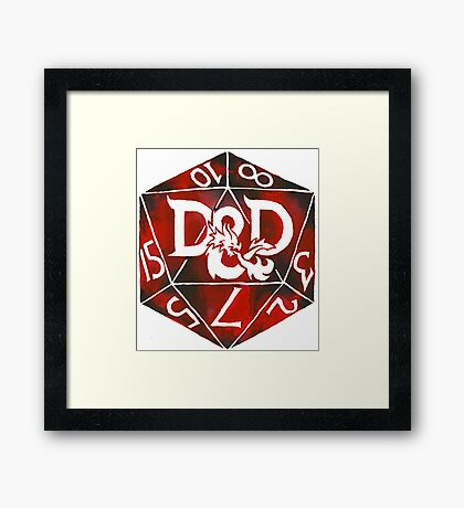 Hand Painted Watercolor DnD D20 Framed Print