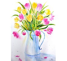 Watercolor vase of tulips Photographic Print