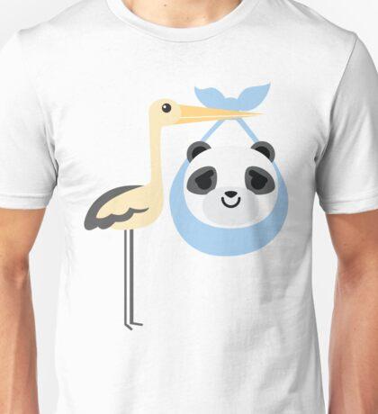 Stork with Baby Panda Emoji Pretty Please Face Unisex T-Shirt