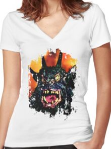 Night of the Demon Women's Fitted V-Neck T-Shirt