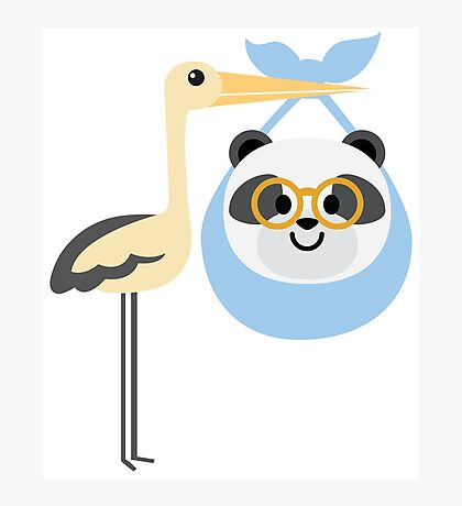 Stork with Baby Panda Emoji Nerd Glasses Face Photographic Print