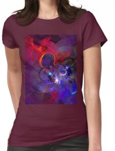 Echoes - Cool Dark Purple Orange Black And Pink Fantasy Abstract Art   Womens Fitted T-Shirt