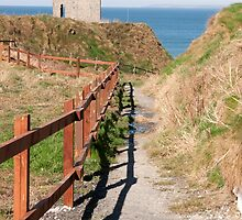 fenced path to Ballybunion beach and castle by morrbyte