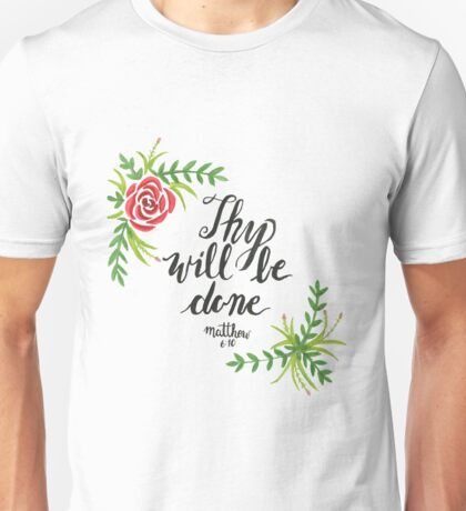 Hand Painted Watercolor Matthew 6:10 Unisex T-Shirt
