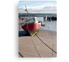 fishing boats anchored in Youghal bay Canvas Print