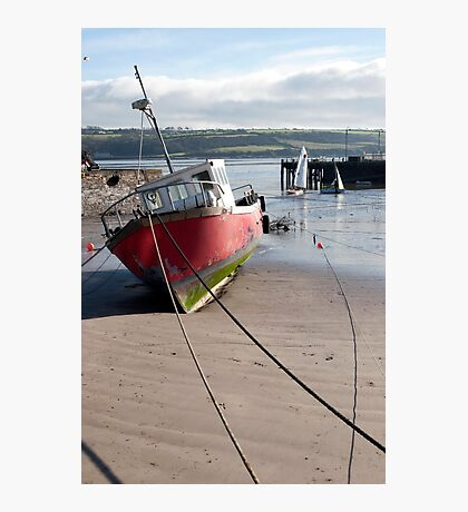 fishing boats anchored in Youghal bay Photographic Print