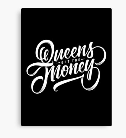 QUEENS - Hand Lettering Black & White Canvas Print