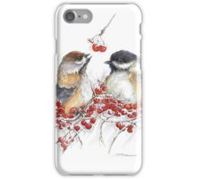 Chickadees Among the Winter Berries  iPhone Case/Skin